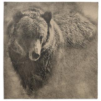 Serviette de tissu avec l'illustration d'ours gris