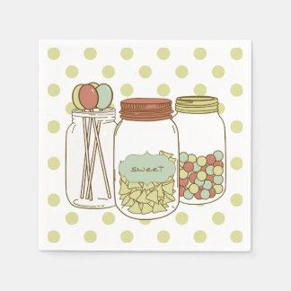 Serviette douce de cocktail de pot et de sucrerie serviettes jetables