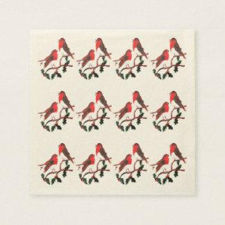 Serviette En Papier Art de fête de merles de houx