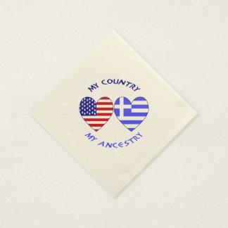 Serviette En Papier Ascendance grecque de pays de drapeau de coeur