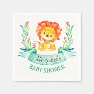 Serviette En Papier Baby shower de lion d'aquarelle