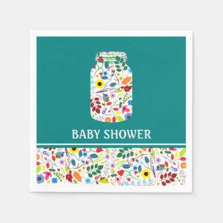 Serviette En Papier Baby shower floral de pot de maçon