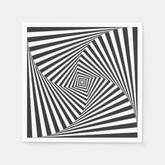 Serviette En Papier Belle illusion optique en spirale blanche noire