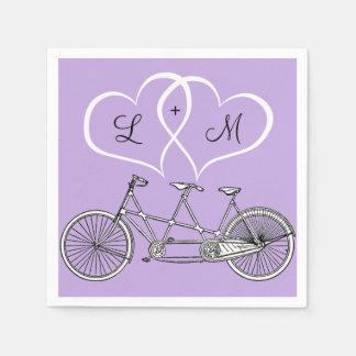 Serviette En Papier Bicyclette pour deux coeurs épousant la serviette