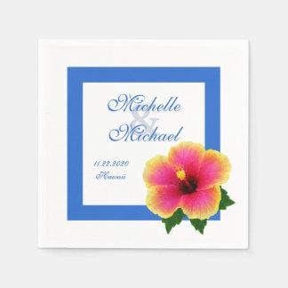 Serviette En Papier Bleu d'événement de mariage de fleur de ketmie
