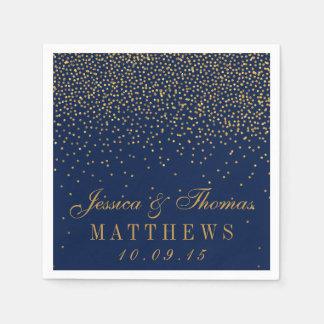 Serviette En Papier Bleu marine et mariage fascinant de confettis d'or