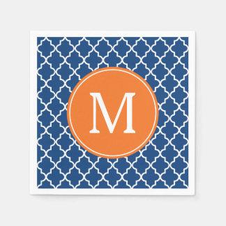 Serviette En Papier Bleu marine et monogramme de Quatrefoil d'orange