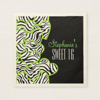 Serviette En Papier Bonbon vert doux à coeurs de zèbre serviette de 16