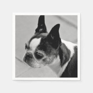 Serviette En Papier Boston Terrier noir et blanc