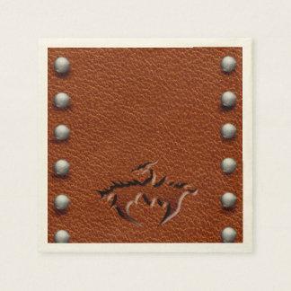 Serviette En Papier brun médiéval en cuir de serviette de dragon