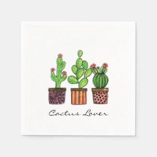 Serviette En Papier Cactus mignon d'aquarelle dans des pots