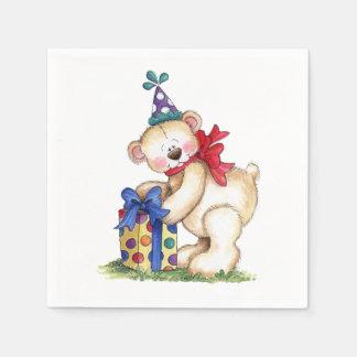 Serviette En Papier Cadeau d'ours d'anniversaire