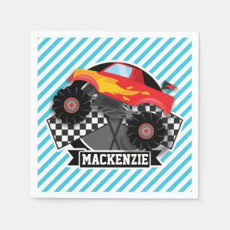 Serviette En Papier Camion de monstre rouge ; Drapeau Checkered ;
