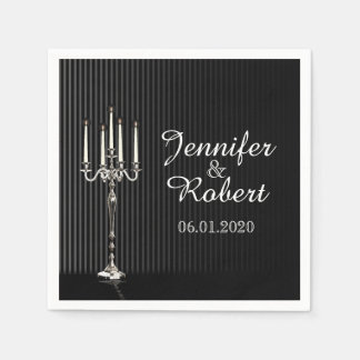 Serviette En Papier Candélabres gothiques sur la serviette de mariage