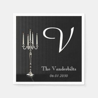 Serviette En Papier Candélabres gothiques sur le mariage de monogramme