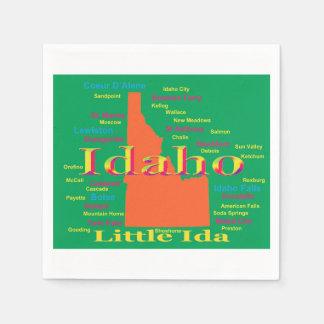 Serviette En Papier Carte colorée de fierté d'état de l'Idaho