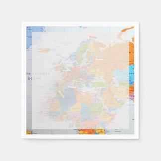 Serviette En Papier Carte colorée de voyage