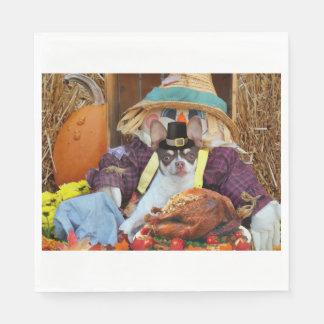 Serviette En Papier Chien de chiwawa de thanksgiving