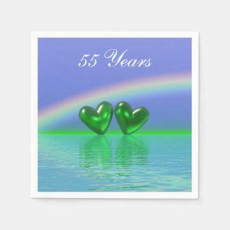 Serviette En Papier cinquante-cinquième Coeurs d'émeraude
