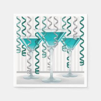 Serviette En Papier Cocktail et ruban d'Aqua