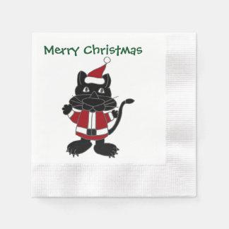 Serviette En Papier Conception drôle de Noël de Père Noël de chat noir