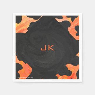 Serviette En Papier Copie noire et orange de vache à monogramme