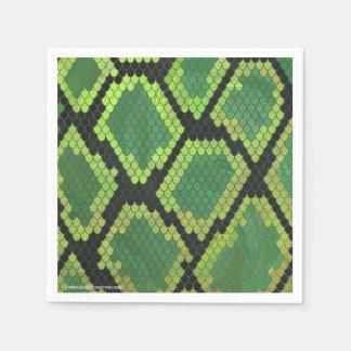 Serviette En Papier Copie noire et verte de serpent