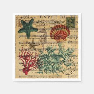 Serviette En Papier coquillage de corail côtier chic d'hippocampe de