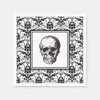 Serviette En Papier Crâne gothique noir de motif de damassé de