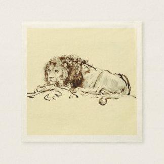 Serviette En Papier Croquis japonais vintage d'encre d'un lion