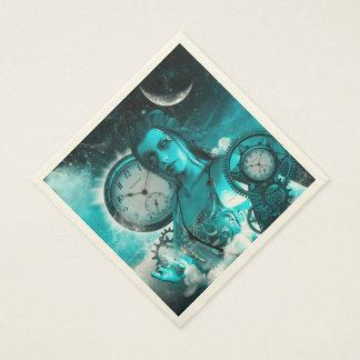 Serviette En Papier Dame impressionnante de steampunk dans l'univers