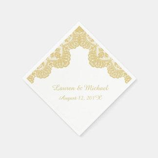 Serviette En Papier Dentelle de Faux d'or sur le mariage blanc