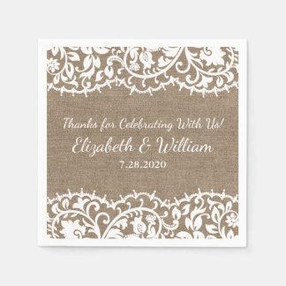 Serviette En Papier Dentelle vintage de mariage rustique, coutume de