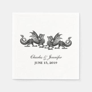 Serviette En Papier Dragons élégants argentés épousant les serviettes