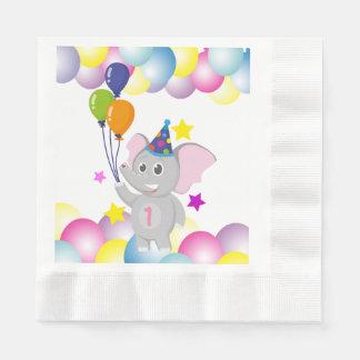 Serviette En Papier Éléphant mignon d'anniversaire avec des ballons