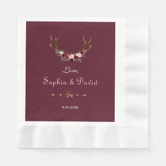 Serviette En Papier Épouser floral d'andouillers de Bourgogne Marsala