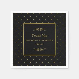 Serviette En Papier Épouser moderne d'effet de noir et de feuille d'or