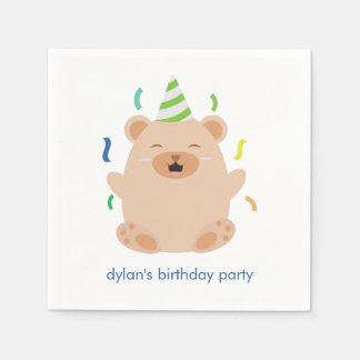 Serviette En Papier Fête d'anniversaire mignonne d'ours