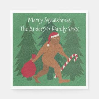 Serviette En Papier Fête de Noël Squatchy drôle de Père Noël Squatch