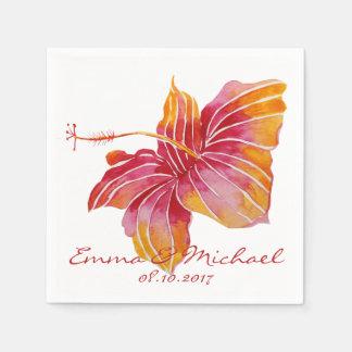 Serviette En Papier Fleur d'Hawaï personnalisée épousant les