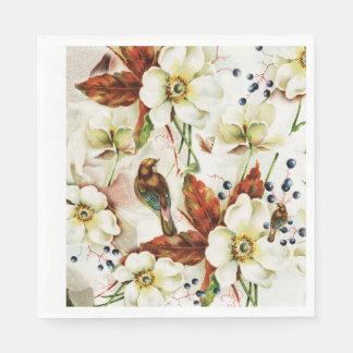 Serviette En Papier Fleurs de cru de jardin d'oiseau de pays