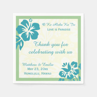 Serviette En Papier Fleurs de plage d'Hawaï personnalisées épousant