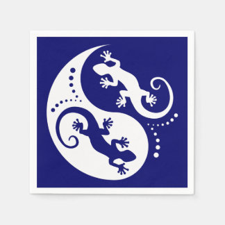 Serviette En Papier Geckos de YIN et de YANG blancs + votre arrière -