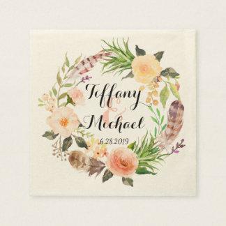 Serviette En Papier Guirlande florale Wedding-5 d'aquarelle chic