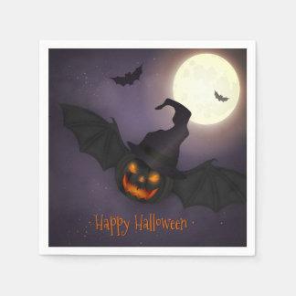 Serviette En Papier Halloween - batte effrayante de citrouille - tous