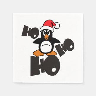 Serviette En Papier Ho Ho Ho - pingouin - Joyeux Noël + votre idée