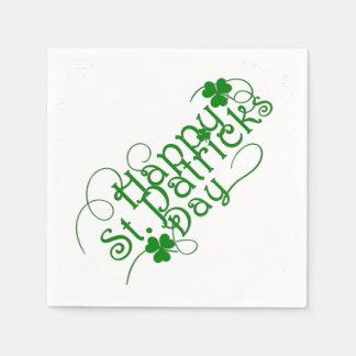 Serviette En Papier Jour de la Saint Patrick heureux en manuscrit