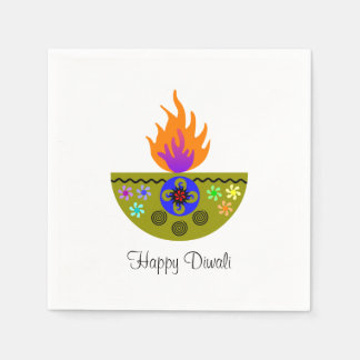 Serviette En Papier Lampe colorée Diya de Diwali