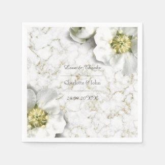 Serviette En Papier Le blanc de marbre floral personnalisé royal d'or