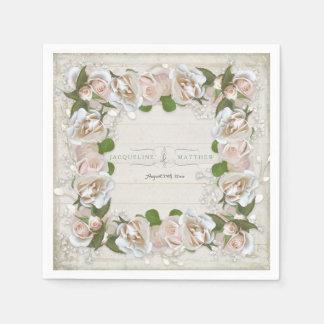 Serviette En Papier Le bois rustique rougissent guirlande florale